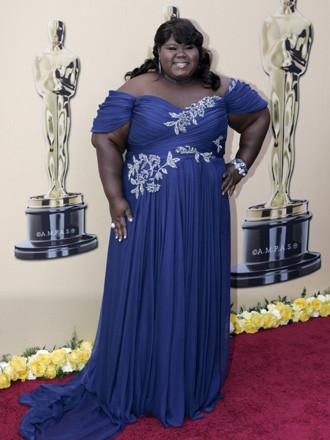Gabourey Sidibe, nominada para Mejor Actriz por Precious, vestida con un Marchesa  azul