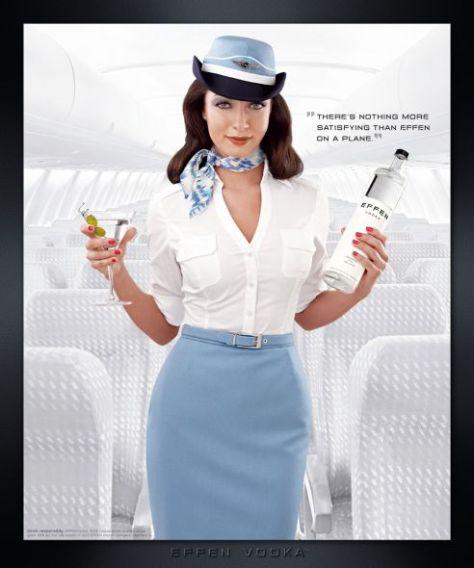 Vodka Effen, para hacer del viaje mejor ... y con esa azafata, bueh