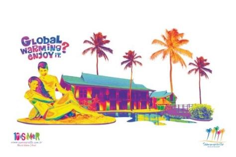"""Alarma global?, disfruta. Aviso de un resort de Porto de Galinha, Brasil. También hay otro parecido en imágen, pero que dice """"Los franceses inventaron el bikini, en brasil esto es innecesario"""""""