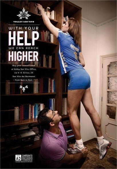 """El equipo de Volley de San Vito pide ayuda a la gente e interviene en la propia publicidad. """"Con su ayuda podemos llegar más alto"""""""