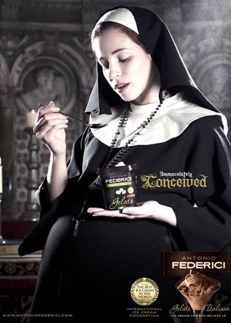 Federici, helado italiano, muy tentador por lo visto. Este aviso fue prohibido.