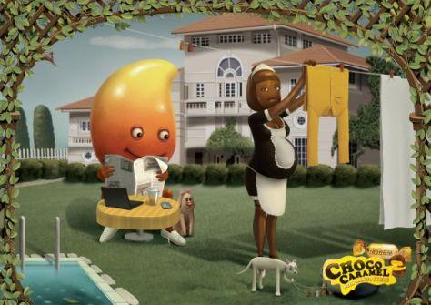 Choco Caramel con mango dentro ... jajaja me encanta esta publicidad