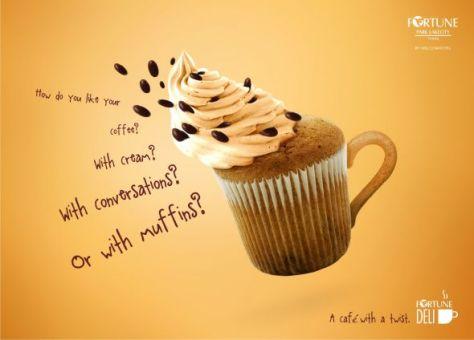 Fortune Deli: Muffins. ¿Cómo te gusta el café? Con crema? Con conversaciones? O con magdalenas? Un café con un toque