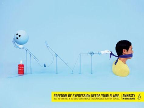 Amnesty International: Libertad de expresión. La mitad de las países del mundo no respetan este derecho fundamental.  Comprar una vela.
